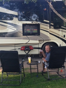 Enjoying the outside living area - watching the Mariners