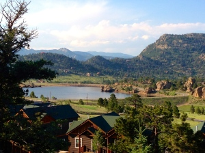View from deck of Mary's Lake Lodge