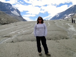 Standing on Athabasca Glacier