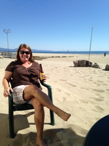 Toes in the sand, Shoreline Cafe in Santa Barbara