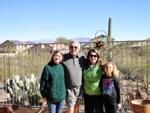 Jane, Dad, Me & Gabby in their backyard