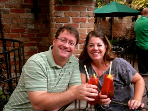 Craig & I enjoying our Hurricane's at Pat O'Briens