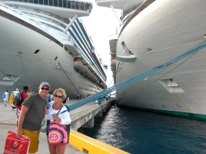 Boarding in Grand Turk - Crown Princess was in port at same time