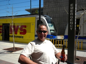 Enjoying a beer at 7th Street Station
