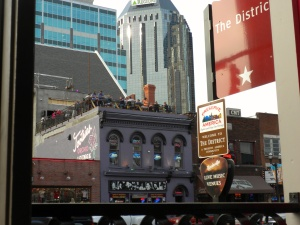 Signs designate locations where live music plays