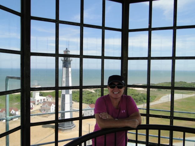 Not a bad view from the top.  The new lighthouse behind me and the entrance to Chesapeake Bay