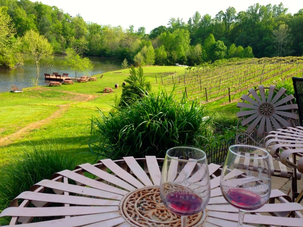 Our spot at Glass House Winery listening to live music