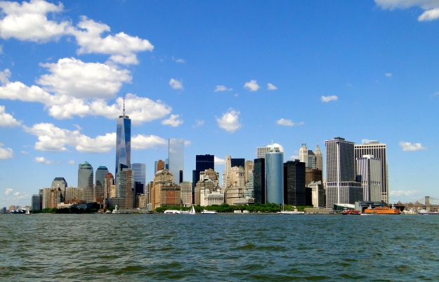 The souther tip of Manhattan - the new Freedom Tower is the tallest building