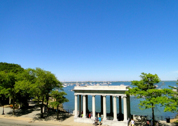 This is where Plymouth Rock is located, shadows prevented us from getting a good shot of the rock itself.