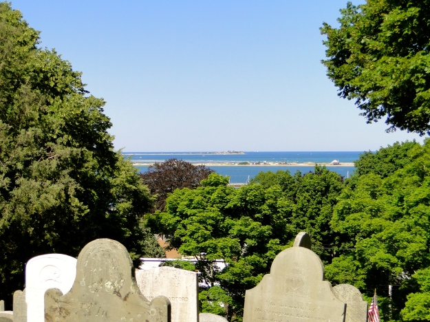 View from Burial Hill.  You can see the peninsulas and the narrow entryway for ships.