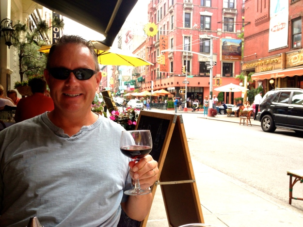 Enjoying wine in Little Italy