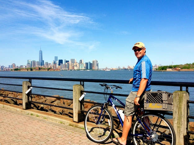 Biking in Liberty State Park.  Great views of Manattan, Ellis Island and Statue of Liberty for NJ