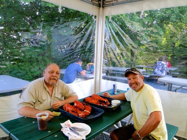 Billy & Mike getting ready for their lobster feed!