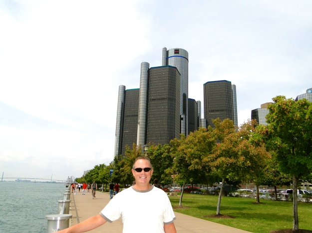 Detroit River, GM Headquarters in the background