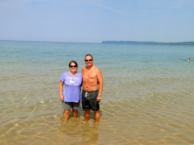 Our toe dip in Lake Michigan (3 Great Lakes down!)