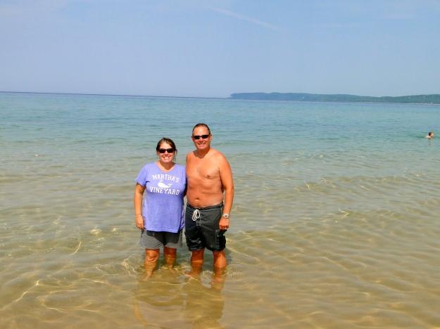 Our toe dip in Lake Michigan (3 Great Lakes down!)