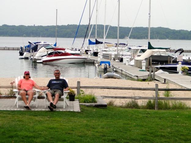 Shelly & Marc enjoying the marina at the Boathouse Restaurant