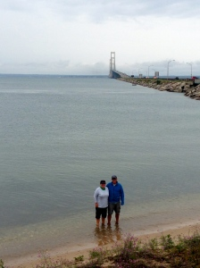 Lake Huron toe dip (4 of 5 down!); Mackinaw Bridge in the background