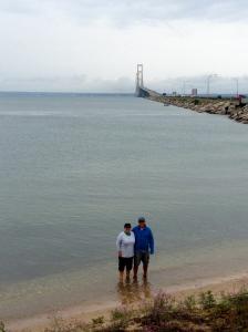 Lake Huron toe dip (4 of 5 down!); Mackinaw Bridge in the background