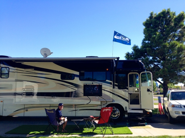 Our tailgating setup for the big game - notice our new flag!
