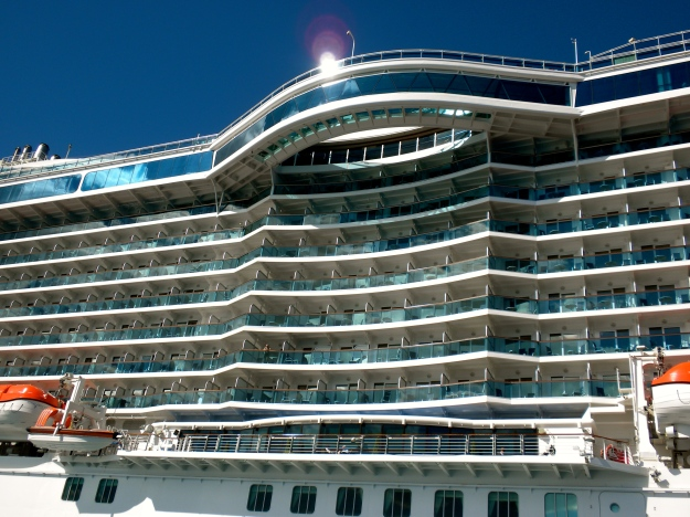 Regal Princess is a brand new ship.  Notice the over-water seawall at the top of the ship