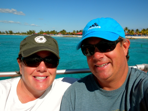 Mike & I on tender with Princess Cays behind us