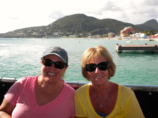 Mom & I on water taxi in St. Maarten