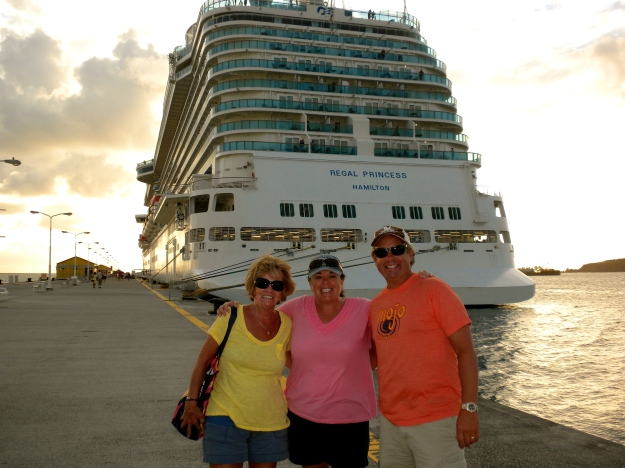 Colorful trio in St. Maarten, Regal Princess behind us