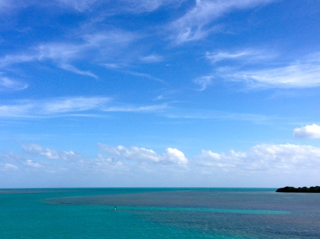 The blue water of the Florida Keys