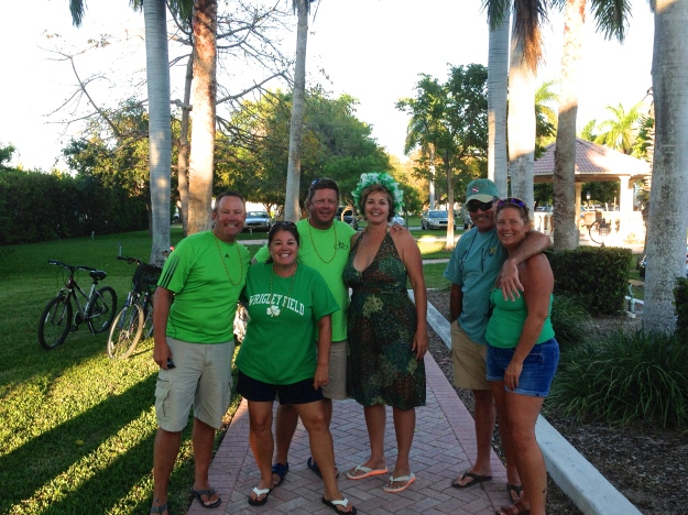 Mike & I, Randy & Lea, Greg & Carol sporting our green!