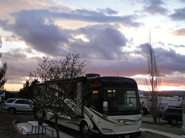Our spot at Santa Fe Skies Campground, great sunsets