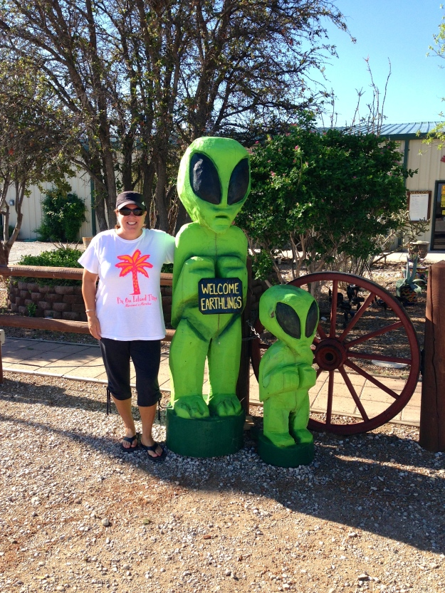 Carlsbad, NM is known for an alien landing, so these little green men are everywhere around town