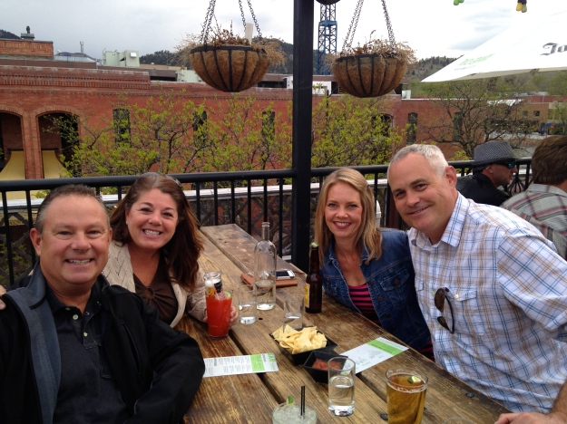 Mike and I, Lori and Bill at the Rio Grande Rooftop, Boulder