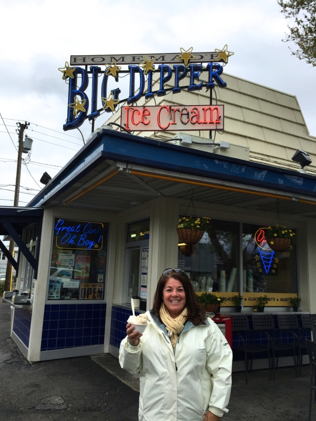 Traci enjoying her salted caramel ice cream from Big Dipper
