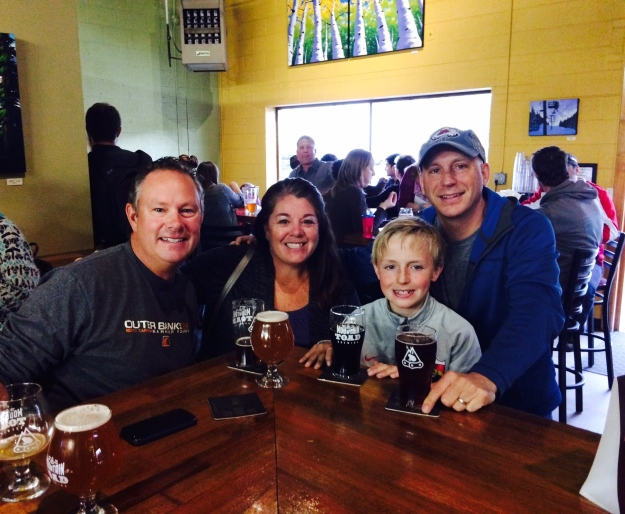 Mike and I, Ron and Tyler at  Mountain Toad Brewery
