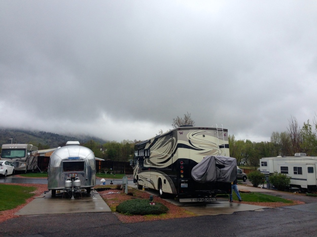 Our Campground in Golden, socked in (usually the mountain are in view)