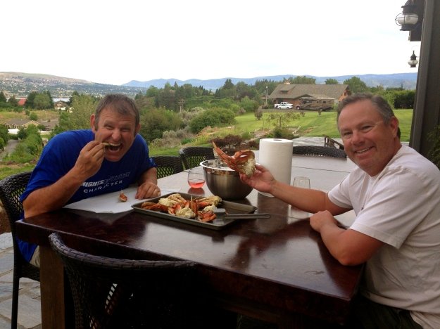 Marc and Mike enjoying their crab